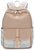 Morrivoe Canvas College Wind Printed Backpack 14 inch Laptop Bag Travel Backpack School Bag for Teenage Girls