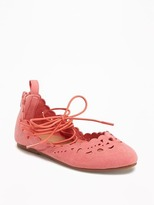 Old Navy Perforated Lace-Up Ballet Flats for Toddler Girls