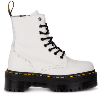 Dr. Martens Jadon White Leather Ankle Boots With Maxi Sole