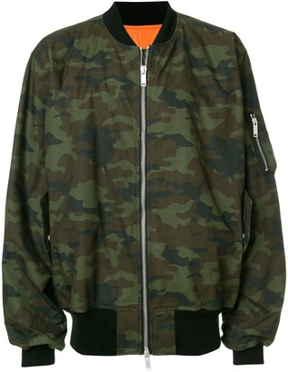 Unravel Project Camouflage Print Bomber Jacket