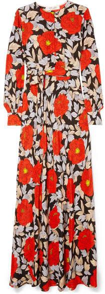 Diane von Furstenberg Floral-print Silk Maxi Dress - Red