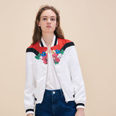 Maje Embroidered satin varsity jacket