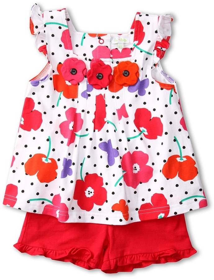 Le Top Field of Poppies Top and Shorts (Infant/Toddler/Little Kids) (White) - Apparel