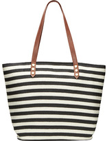 San Diego Hat Company Women's Stripe Tote Bag with PU Trim BSB1350
