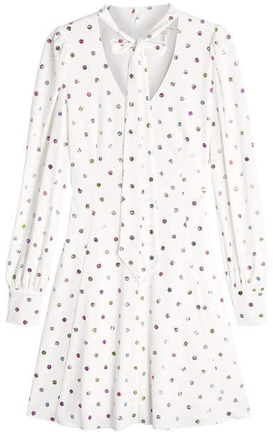 Marc Jacobs Pussy Bow Printed Crepe Dress