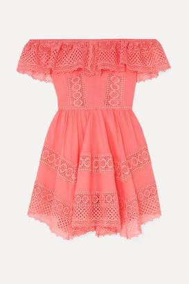 Charo Ruiz Ibiza Vaiana Crocheted Lace-paneled Cotton-blend Mini Dress - Coral