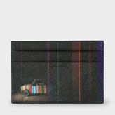Paul Smith Men's Black Leather 'Mini' Print Saffiano Leather Credit Card Holder