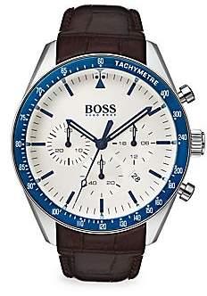 HUGO BOSS Men's Trophy Leather-Strap Watch