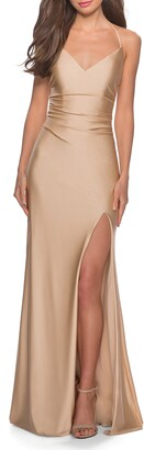 La Femme Cross Back Satin Jersey Trumpet Gown