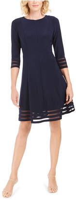 Jessica Howard Petite Shadow-Stripe Fit & Flare Dress