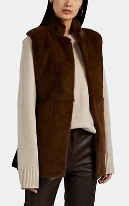 The Row Women's Dania Mink Fur & Foamy Wool-Blend Vest - Md. Green