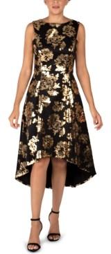 Donna Ricco Floral-Print High-Low Dress