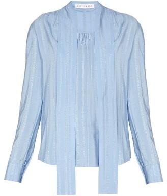 Altuzarra Visage Neck-tie Silk-blend Crepe Blouse - Womens - Light Blue
