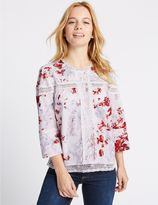 Marks and Spencer PETITE Pure Cotton Pintuck Printed Blouse