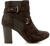 Charles Albert Women's Winner Faux Suede Chunky Stacked Heel Ankle Bootie in Size: 8