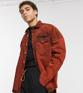 Collusion COLLUSION oversized denim shirt in washed orange
