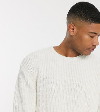 ASOS DESIGN Tall oversized fisherman rib sweater in white