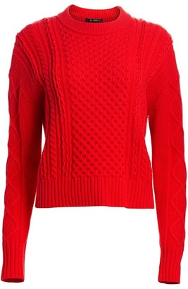 St. John Aran Cable Knit Drop Shoulder Sweater