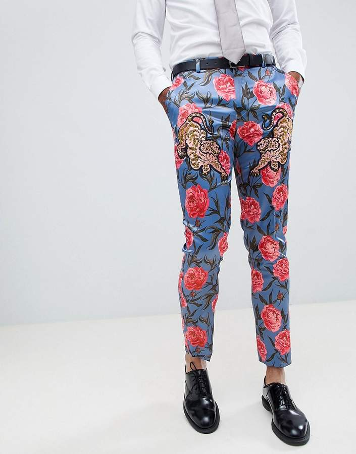 Asos Edition Skinny Suit Pants In Blue Floral Print With Tiger Patches