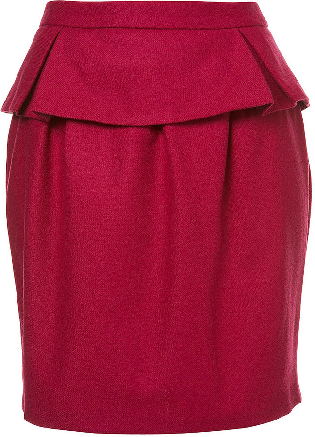 Topshop Flannel Peplum Pencil Skirt