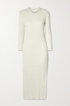 CASASOLA Net Sustain Luiza Ribbed Silk And Cotton-blend Midi Dress - Ivory