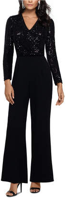 Xscape Evenings Sequined & Crepe Jumpsuit