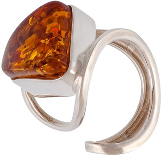 Be Jewelled Be-Jewelled Sterling Silver Triangular Baltic Amber Ring