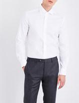 Corneliani Herringbone-weave slim-fit cotton shirt