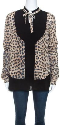 Just Cavalli Beige Leopard Print Silk Contrast Trim Detail Blouse S