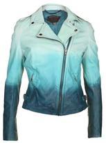 Muubaa Women's Ocean Blue Ombre Leather Jacket
