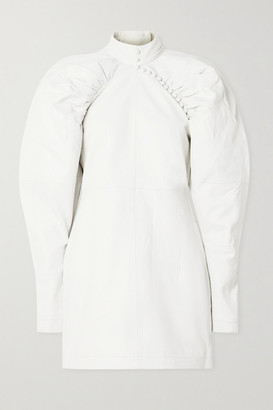 Rotate by Birger Christensen Kim Button-detailed Leather Mini Dress - Off-white