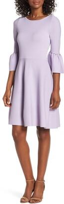 Eliza J Cutout Bell Sleeve Fit & Flare Dress