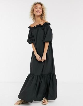 Asos DESIGN cotton poplin off shoulder maxi dress with pephem in black