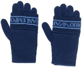 Emporio Armani Knitted Logo Gloves