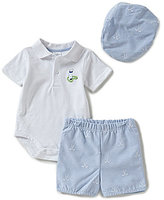Starting Out Baby Boys Newborn-9 Months Golf Club Polo Bodysuit, Shorts, & Hat Set