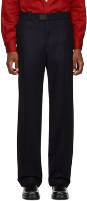 Raf Simons Navy Wool Classic Trousers