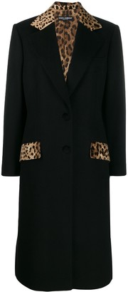 Dolce & Gabbana Tailored Leopard Print Panel Coat