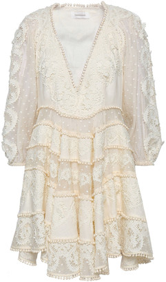 Zimmermann Pompom-trimmed Embroidered Cotton And Silk-blend Mini Dress