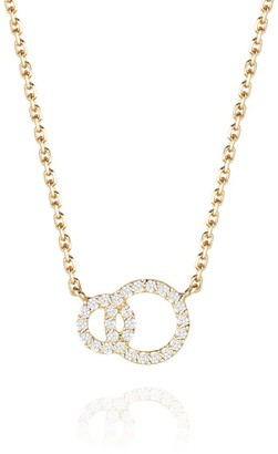 Perle de Lune Double Halo Necklace - 18K Gold