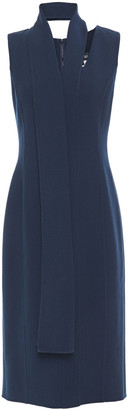 Oscar de la Renta Tie-neck Wool-blend Crepe Midi Dress