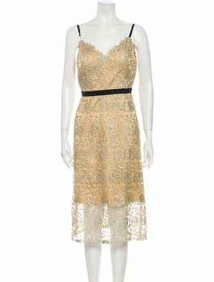 Catherine Deane Lace Pattern Midi Length Dress Gold