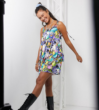 Collusion meantime butterfly print mini smock dress