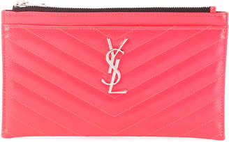 Saint Laurent Monogram Quilted Neon Bill Pouch Wallet