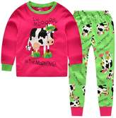 """CNBABY """"Dairy Cow"""" Toddler and Little Girls Pajamas Long Sleepwear Cotton Pjs (18-24 Month)"""