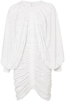 Burberry Crystal-Embellished Pinstriped Ruched Dress