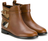 Burberry check panel ankle boots