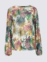Marks and Spencer Floral Print Round Neck Long Sleeve Top