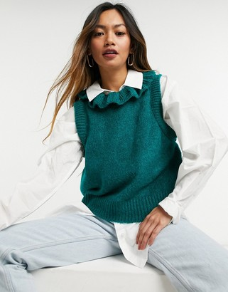 Y.A.S knitted vest with drop armhole and frill neck in green