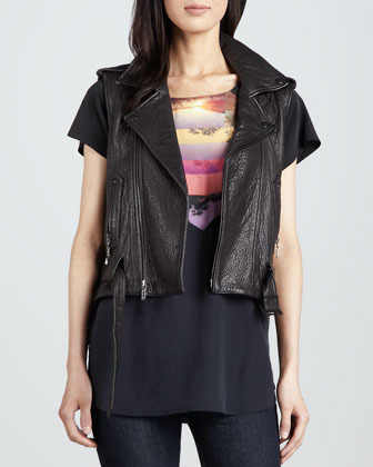Rebecca Minkoff Mira Photo-Print Silk Top
