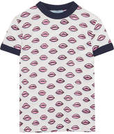 Prada Ribbed Knit-trimmed Printed Cotton T-shirt - Pink